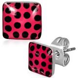 Cercei pătraţi din oţel, roşii cu tentă roz, cu puncte negre