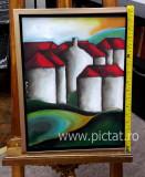 Peisaj, tablou peisaj abstract rural, Tablou abstract modern, Tablou decorativ.