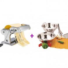 Pachet Spaghetti, Aparat pentru făcut paste din inox cromat + Set 4 ustensile, pentru pregătirea pastelor