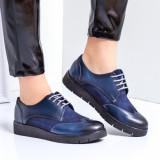 Pantofi dama piele naturala albastri Clovia