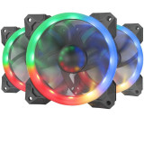 Set 3 ventilatoare Redragon F008 120mm iluminare aRGB