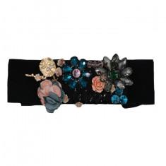 Curea elastica neagra cu flori din pietre colorate