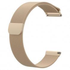 Curea tip Milanese Loop, compatibila Huawei Watch GT, telescoape Quick Release, 22mm, Retro Gold