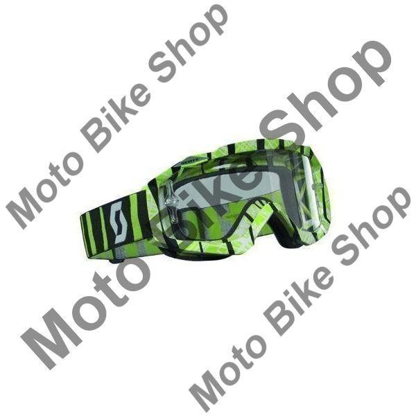 MBS Ochelari cross/enduro Scott Works Hustle, negru/verde , sticla clara, Cod Produs: W2208282908AU