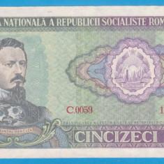 (3) BANCNOTA ROMANIA - 50 LEI 1966 RSR, PORTRET A.I. CUZA, STARE BUNA