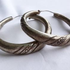 CERCEI argint TRIBALI rotunzi VECHI vintage OPULENTI gravati manual DE EFECT rar