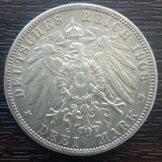 (A703) MONEDA DIN ARGINT GERMANIA, PRUSIA - 3 MARK 1908, LIT. A, WILHELM II
