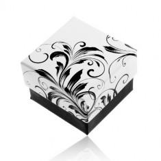 Cutiuță de cadou pentru inel, model frunze agățătoare, combinație negru cu alb
