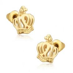 Cercei aurii cu tijă, coroană regală