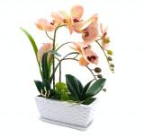 Cumpara ieftin Ghiveci decorativ cu flori artificiale, Orhidee, 40 x 21 cm