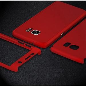 Husa 360 GRADE compatibila SAMSUNG S7 cu Folie de protectie inclusa- RED