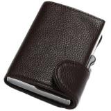 Portofel unisex, port card iUni P5, RFID, Compartimente 9 carduri, acte si bancnote, Brun inchis