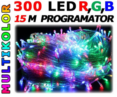 Instalatie pentru Craciun Multicolora, Lungime 15m, 300 Becuri LED, Interior si Exterior, 8 Moduri de Luminare foto