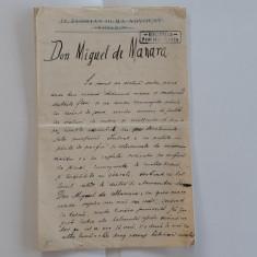 AUTOGRAF LUCIAN BOLCAS: Manuscrisul povestirii DON MIGUEL DE MANARA