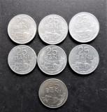 ROMANIA - 7 Monede 25 BANI - 6 din 1982 + 1 din 1966 (119)