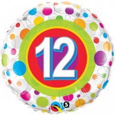 Balon aniversar 12 ani din folie cu buline 43cm