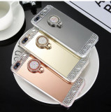 Husa Silicon oglinda cu pietricele si inel iPhone SE 2020, 6, 7,7 Plus ,8,8 Plus