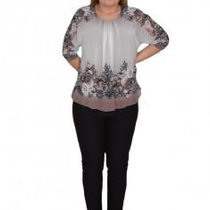 Bluza de ocazie din material tip voal ,maro cu imprimeu floral