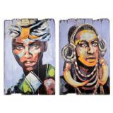 Set doua tablouri din lemn cu africani SK62-SET, Portrete, Acrilic, Avangardism
