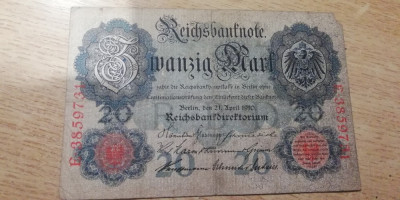 MDBS - BANCNOTA GERMANIA - 20 MARK - 1910 foto