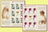 2008 Romania, Regina Maria Ziua Marcii 2 coli x 8 timbre + vinieta LP 1815 a MNH, Regi, Nestampilat