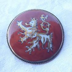 BROSA argint BARBARY LION simbol REGAL BRITANIC pictat manual pe PORTELAN rara