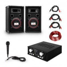 Electronic-Star Easy DJ Set Black, sistem PA, amplificator PA, 2 x difuzor, micro, negru
