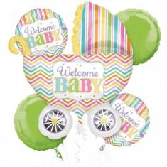 Buchet de baloane botez din folie Welcome Baby foto