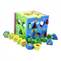 Jucarie puzzle din lemn in forma de cub, Multicolor, 15 cm