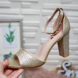 Sandale Manada aurii cu toc gros - rl