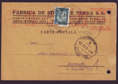 1932 Romania, CP francatura mecanica publicitara Fabrica de Sticlarie Turda foto