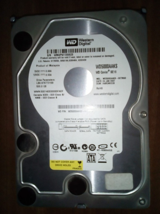 HDD  500GB, SATA diverse modele