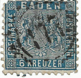 Germany Baden 1862 Coat of arms 6 Kr Mi.14a used AM.577