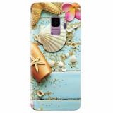 Husa silicon pentru Samsung S9, Blue Wood Seashells Sea Star