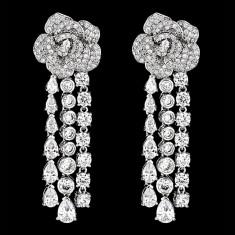 Cercei placati cu Aur 18K si Diamante, Olympia Platinum