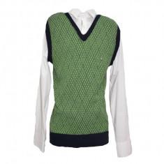 Vesta la moda, nuanta de verde, cu imprimeu geometric abstract
