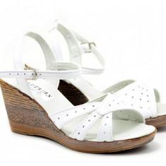 Sandale dama din piele naturala box - S5ALB