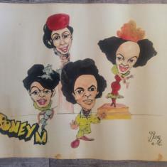 Caricatura Boney M, trupa pop// acuarela pe hartie, fan art