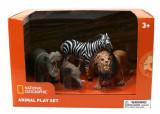 Set 4 figurine - Hipopotam, Elefantel, Zebra si Leu PlayLearn Toys, National Geographic