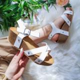 Sandale Serica albe cu platforma -rl