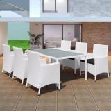 Set mobilier de exterior 13 piese, poliratan, alb crem