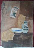 Natura statica cu vase traditionale de ceramica, pictura veche, 73 x 51 cm