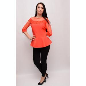 Bluza eleganta cu croi modern, maneca trei-sferturi, nuanta rosie