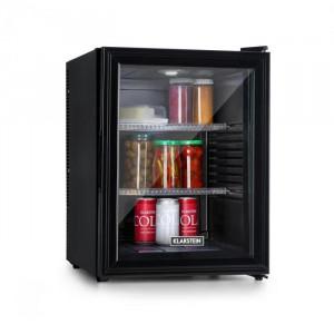 Klarstein Brooklyn 42, frigider, clasa energetică A, uși din sticlă, interior negru, negru