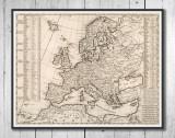 Harta Europa decorativa vintage de perete, anul 1718, print, reproducere