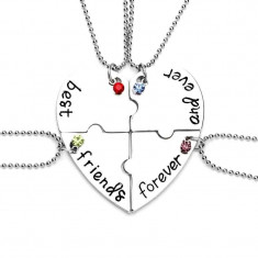 Set 4 Lantisoare Cu Pandantive Best Friends Forever BFF Inima , zum221