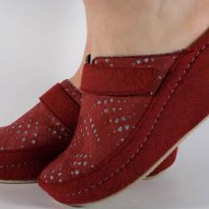 Papuci de casa MUBB visinii din lana cu platforma (cod 6623)