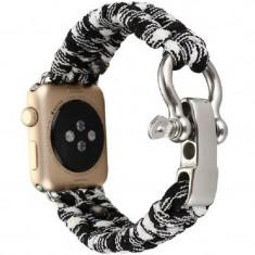 Cumpara ieftin Curea pentru Apple Watch 44 mm iUni Elastic Paracord Rugged Nylon Rope, Black and White