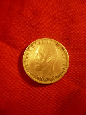 Moneda 1 Leu - Aniversar 1866-1906- 40 Ani Domnie ,argint ,cal. f.buna foto