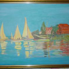 Reproducere, culori acrilice,Regatta at Argenteuil,Claude Monet,30x40cm